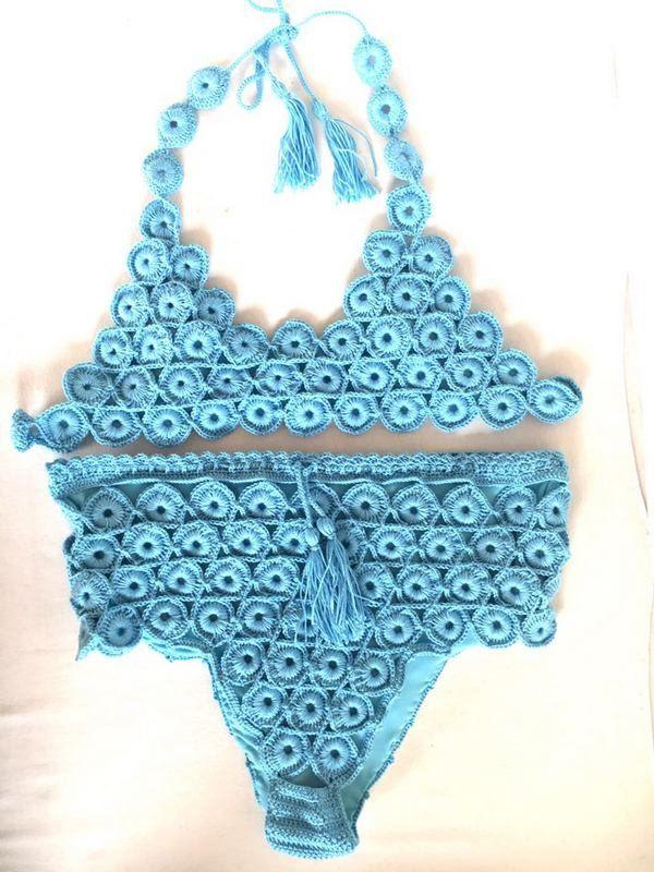 Crochet Bikini , Blue High Waisted Bikini Set Women Swimwear Swimsuit Bathingsuit 2018 Summer Trends  /// senoaccessory by senoAccessory on Etsy https://www.etsy.com/listing/595283877/crochet-bikini-blue-high-waisted-bikini