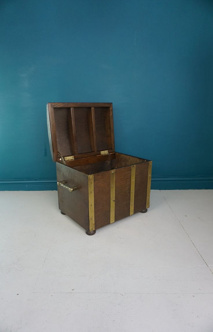 WOODEN CHEST WITH BRASS BANDING
