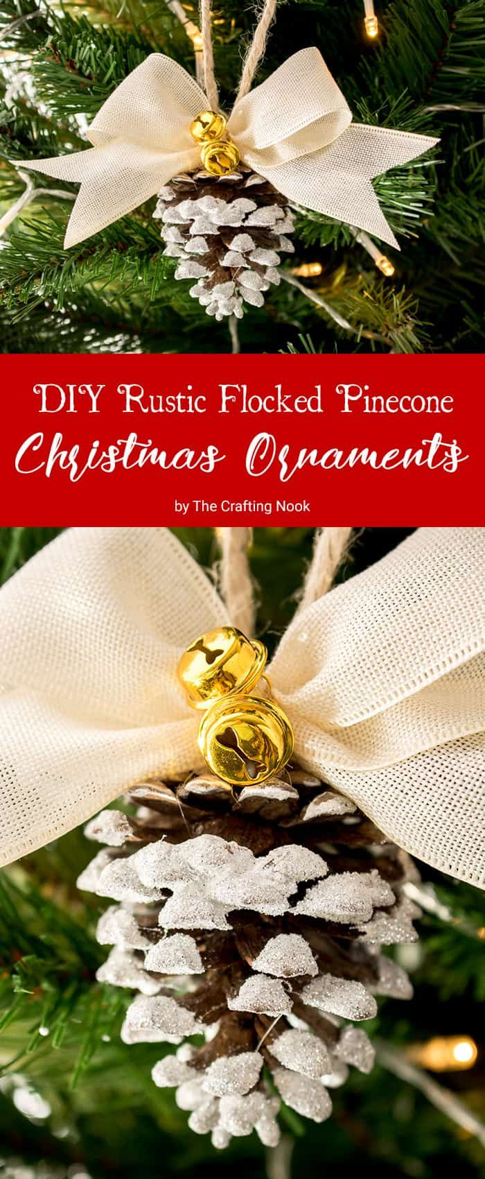 What Is Prettier Than A Rustic Pinecone Ornament Some Super Cute Rustic Flocked Pinecon Diy Christmas Ornaments Christmas Ornaments Rustic Christmas Ornaments