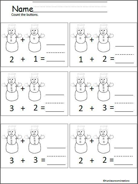 Snowman Button Addition For Kindergarten