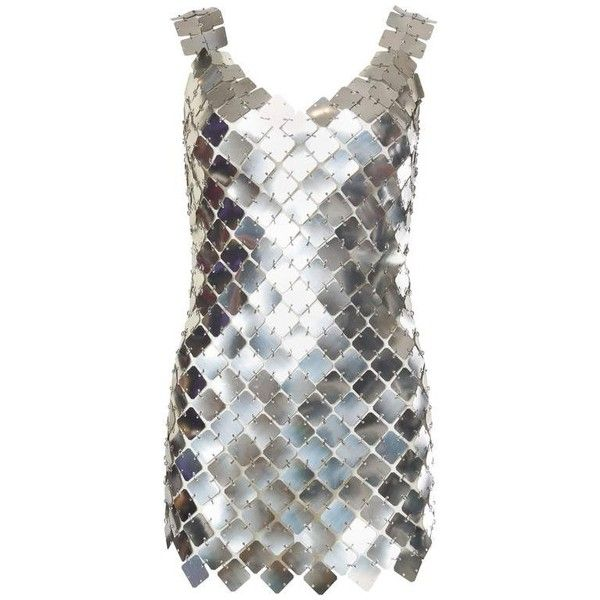 Preowned Paco Rabanne Attributed Silver Disk Dress ($2,800) ❤ liked on Polyvore featuring dresses, silver, vintage, multiple, vintage silver dress, pre owned dresses, vintage dresses, silver dresses and paco rabanne dress