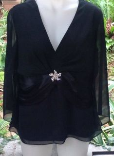 Laura+K+Ladies+evening++top+size+20++-+black++-+small+make+so+would+fit+upto+size+20+better+than+from+size+20+-+has+diamante++brooch+detail+on+waistband++