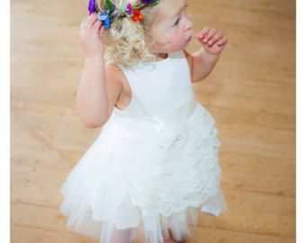 Stile Vintage Flower Girl Dress, vestito ragazza di fiore di cotone organico naturale, fiore ragazza vestito di pizzo, tulle vestito dalla ragazza di fiore