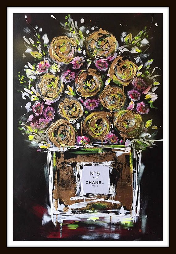Chanel n.5 Fashion Print on Canvas, Fashion Illustration by Lana Moes, Chanel Inspired Large Wall Art, Ready to Hang, Warhol Inspired – Petra Danco-Vollberg