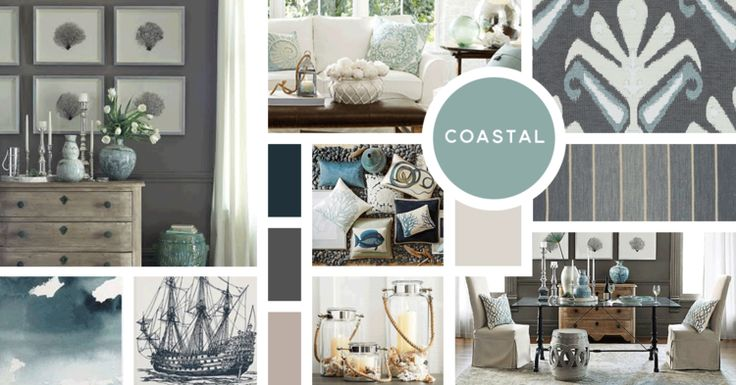 Coastal Interior Design Style |Sources from top left: William Sonoma Home, Pottery Barn, Duralee, William Sonoma Home, Crate and Barrel, Minted, Thomas Paul, Pottery Barn, William Sonoma Home