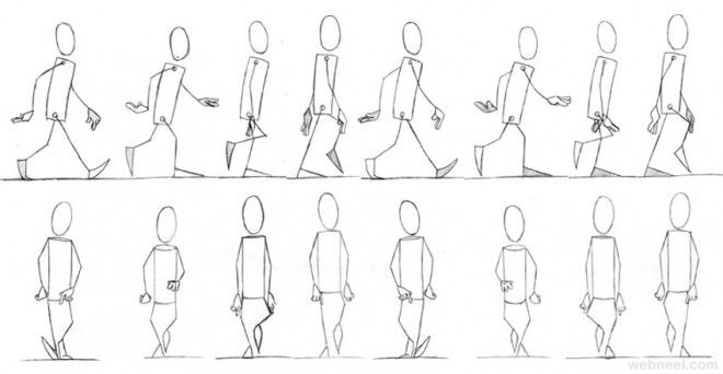 walk cycle front animation