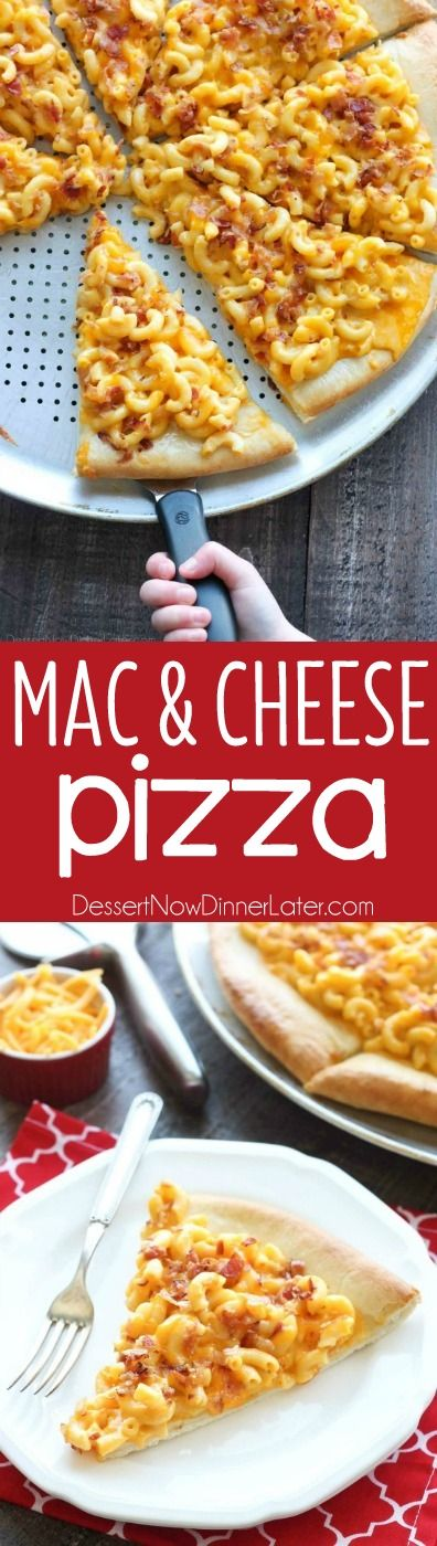 Mac and Cheese Pizza combines two tasty dinners into one incredible meal. It's so easy, the kids can make it! Top it with bacon for extra deliciousness!