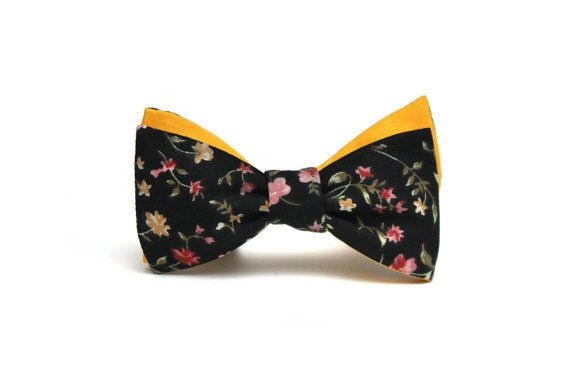 Mens bow tie Yellow and Floral brown Cotton men's self