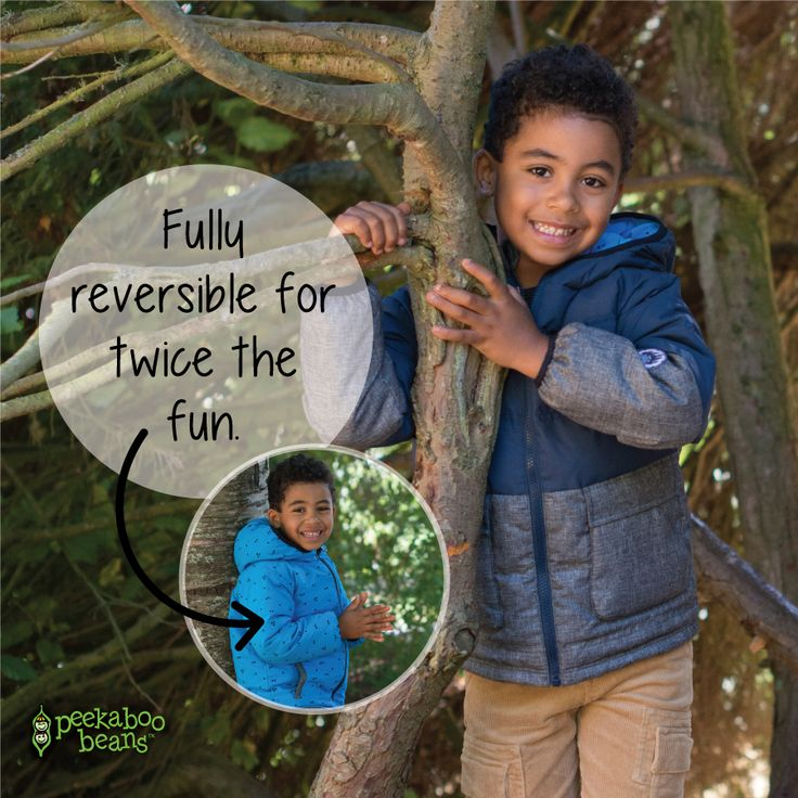 Peekaboo beans new boys reversible jacket. This cozy, water-resistant down coat will keep your little one warm and dry during the colder months so he can spend more time playing outside. The hood and cuffs are designed with a soft elastic to provide a snug fit and keep out drafts on windy days, and the fleece lined pockets will keep little hands warm. When a style change-up is in order, it's easily reversible to show off the printed side