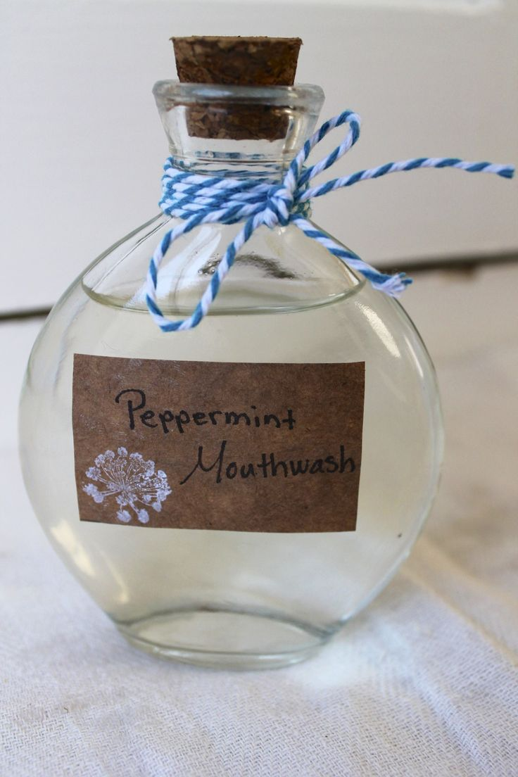 DIY Peppermint Mouthwash (aloe vera juice, water, witch hazel, baking soda, peppermint E.O.)