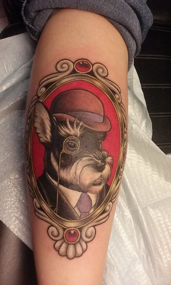 Gentleman dog with derby monocle tattoo by yoyo for Best tattoo artists in ohio