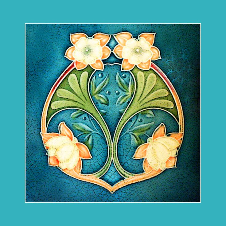 """Art Nouveau tile by Marsden (1906). Courtesy of Robert Smith from his book """"Art Nouveau Tiles with Style"""". Photoshopped by Catherine Hart."""