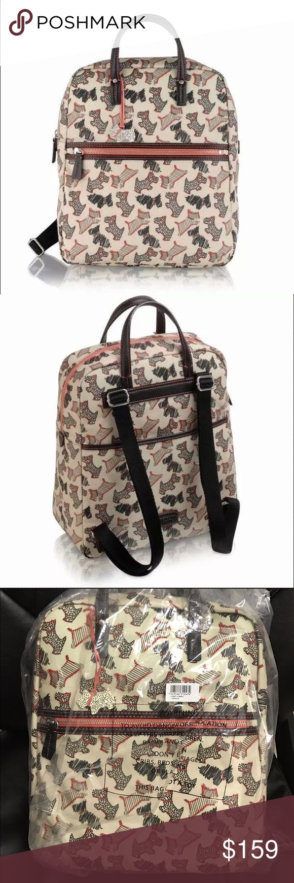 Radley Fleet Street Large Zip‑top Ivory Backpack Made from Oilskin Features zip fastening with front and back slip pocket and an adjustable strap The inside features internal pockets which includes a phone pocket Strap Length: 80cm Comes with a detachable charm Please note this style does not come with a dust bag Dimension: W28 x H35 x D13 cm Product code: 63531 This is a SOLDOUT item. Bought directly from Radley London with receipt. Immaculate condition. Still in wrap as…