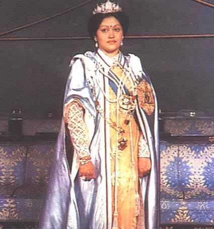 Aishwarya Rajya Laxmi Devi Shah (7 November 1949 – 1 June 2001) was the Queen of Nepal from 1972 to 2001. She was the wife of King Birendra and the mother of Crown Prince Dipendra, Prince Nirajan, and Princess Shruti.