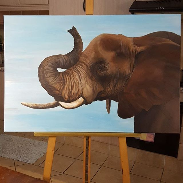 """50 Likes, 4 Comments - Simone Dee Russell (@russellsimone) on Instagram: """"I'm proud to say that the Elephant is finished! Just need to place my signature on it.  It was a…"""""""