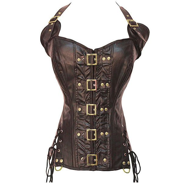 Women Sexy Artificial Leather Steampunk Bustiers Front Button Waist Training Cincher Overbust Corsets