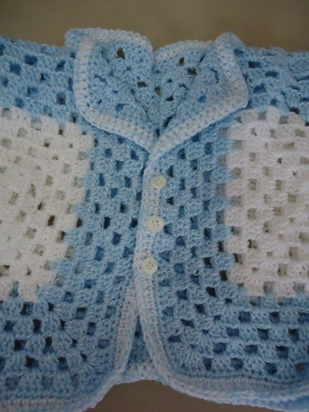 Casaquinho de Crochê Bebê - Azul