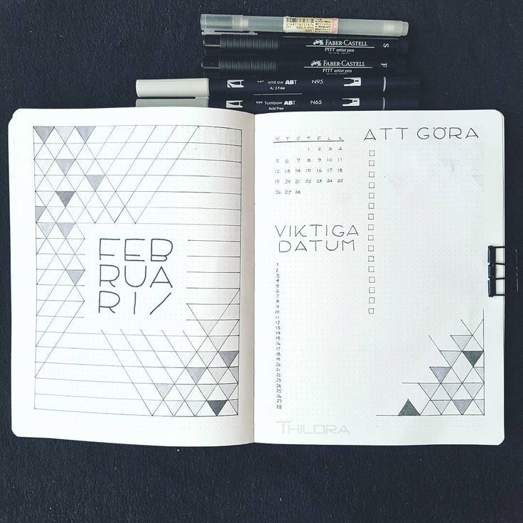 Bullet journal monthly cover page, February cover page, geometric design, triangle drawing, monthly calendar, linear calendar. | @designbythildra