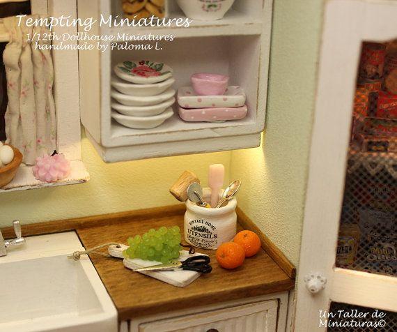 Kitchen Utensil Holder with Five Utensils  by TemptingMiniatures