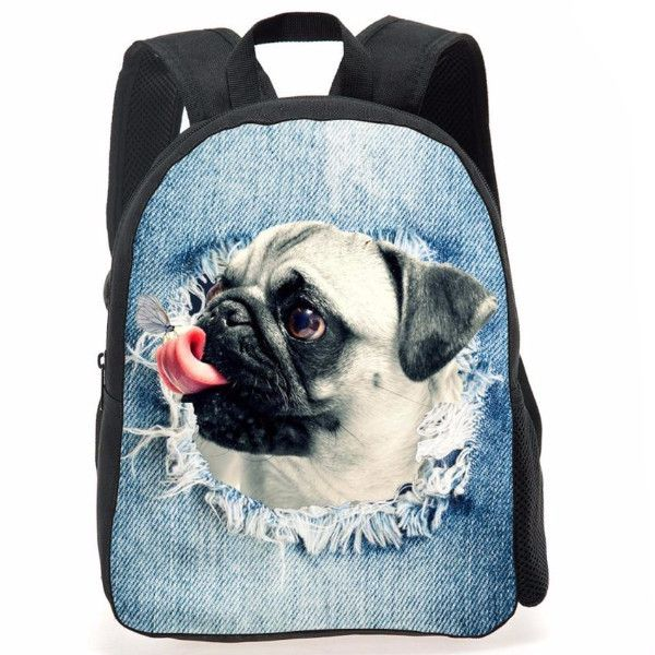 Practical, but cute double shoulder backpack featuring a detailed print of a pug ripping through denim. The zipper bag measures 31x26x10cm and it is the perfect companion for school kids who love pugs