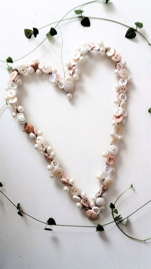 A heart from buttons and pearls