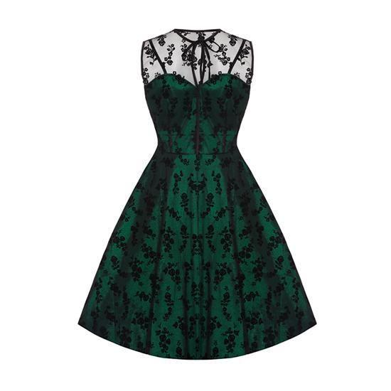 Společenské/večerní šaty Voodoo Vixen Penny naprosto dokonalé šaty šaty od voodoo vixen. zelená brokátová spodní vrstva, na ní tylová ozdobná část s kytičkami, úžasné a jedinečné! určené pro slavnostnější příležitost - na ples, do divadla, večírek, na svatbu. nádherně vypadají a skvěle padnou.