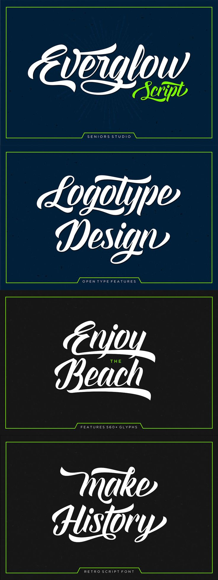 Everglow Script is a retro script font, bold, classic and fun vintage script.Can be used for various purposes.such as logos, t-shirt, letterhead, signage, news, wedding invitation, posters, badges etc.