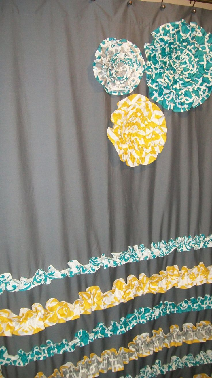 Window Panel Curtain Custom Made Designer Fabric Ruffles  Flowers Gray   White  Teal Best 25  Cute shower curtains ideas only on Pinterest   Country  . Yellow And Teal Shower Curtain. Home Design Ideas