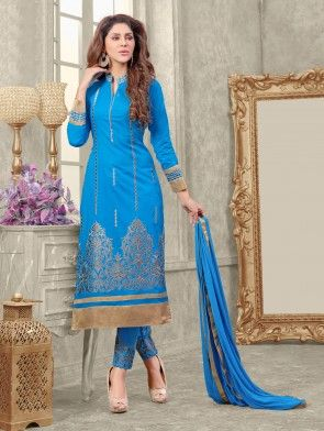 Light Blue Cotton Suit with Embroidery Work