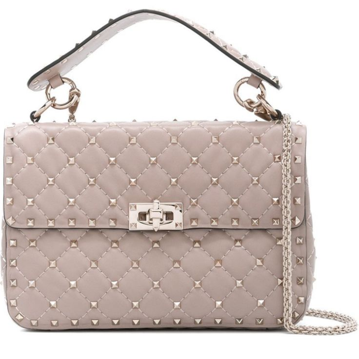 Valentino Beige Medium Rockstud Matelassé Bag LW0B0122NAP