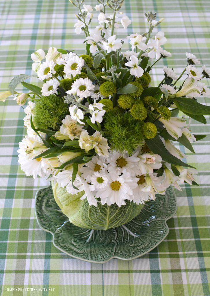 Cabbage Floral Centerpiece DIY | homeiswheretheboatis.net #StPatricksDay