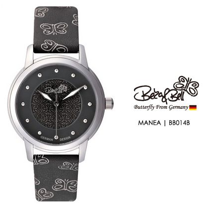 MANEA BB014B  | Meterail:316L Stainless Steel  | Movement: MIYOTA 2035  | Case Size: 30mm  | Band Size: 14mm  | Band: Butterfly Engraved Genuine Leather  | Glass: Hardened Mineral Crystal  | Water Resistance : 3 ATM