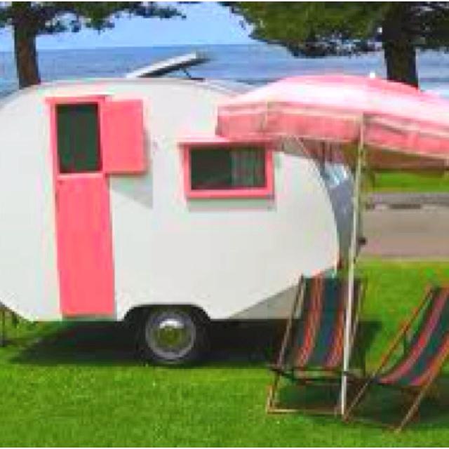 Pink teardrop trailer