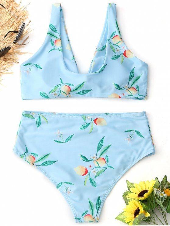20374a636696d Tied Lemon Print High Waisted Bikini Set