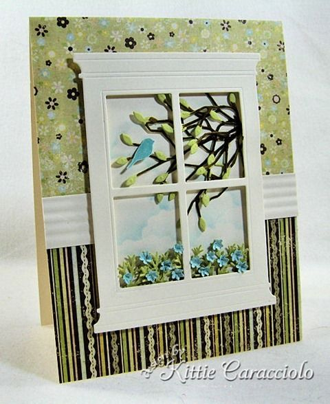 I cut the Poppy Stamps Grand Madison Window using vanilla cardstock and cut a smaller vanilla piece to sponge clouds on with Tumbled Glass Distress Ink. The Memory Box Leafy Branch was cut using green  cardstock and the branches were colored with a Vintage Photo Distress Marker.  Lots of little flowers with Memory Box Flower Mound and attached to the foliage.  Little bird from the Impression Obsession Sold Tree set with versamark on blue paper, heat embossed with clear embossing powder.