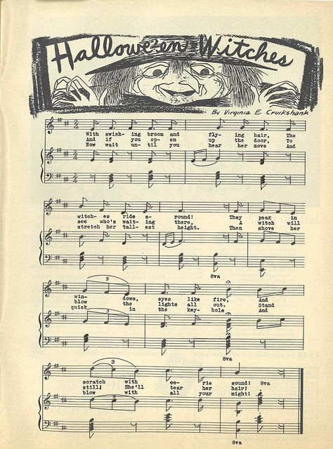 """Halloween Witches"" sheet music from Child Life Magazine, October 1951. Just in time for #Halloween, an Etsy score that I am sharing with all my ghoulfriends. (Link goes to Flickr stream with more scans.) Enjoy!"