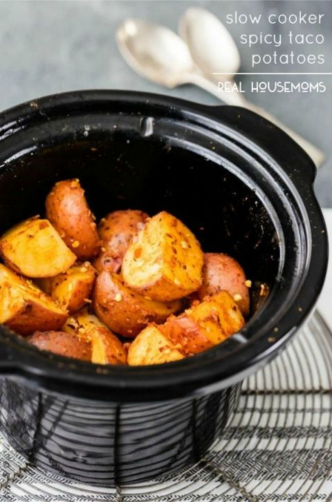 Slow Cooker Spicy Taco Potatoes are the PERFECT easy side dish for any occasion!