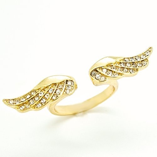 Blue Chip Unlimited - Elegant Forever 21 Inspired 18k Gold Plated Angel Wings with CZ Open Ring Fashion Band Jewelry Gift Size 7 Blue Chip Unlimited,http://www.amazon.com/dp/B009Z0KCBS/ref=cm_sw_r_pi_dp_t.jyrb7AF853469E