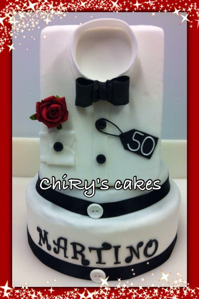 Decorazione x torta di compleanno #50anni #compleanno #birthday #cake #torta #camicia #rosarossa #uomo #blackandwhite #chiryscakes #cakedesign #ilovemyhobby #50years