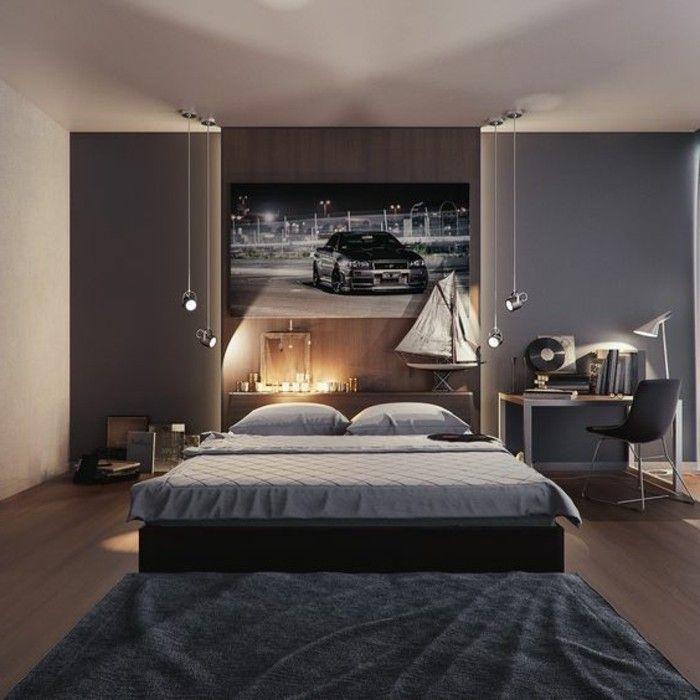 chambre ado ikea garçon, mur en gris et marron foncé, tapis gris anthracite