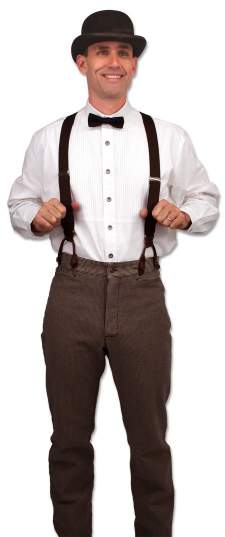 Tinkerer Outfit Sinclair Edwardian Club Collar Shirt - White $54.95 Deluxe Felt Derby - Brown $69.95 Sable Brushed Cotton Trousers $54.95 Deluxe Bow Tie, Black $17.95 Brown Elastic Y-Back Braces $22.95 gentlemansemporium.com