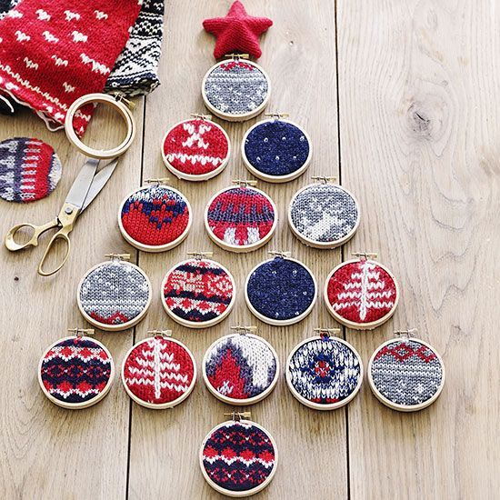 Make a ready-for-the-wall tree design with 16 small embroidery hoops! http://www.bhg.com/christmas/crafts/christmas-sweater-crafts/?socsrc=bhgpin112514sweatersinembroideryhoops&page=9