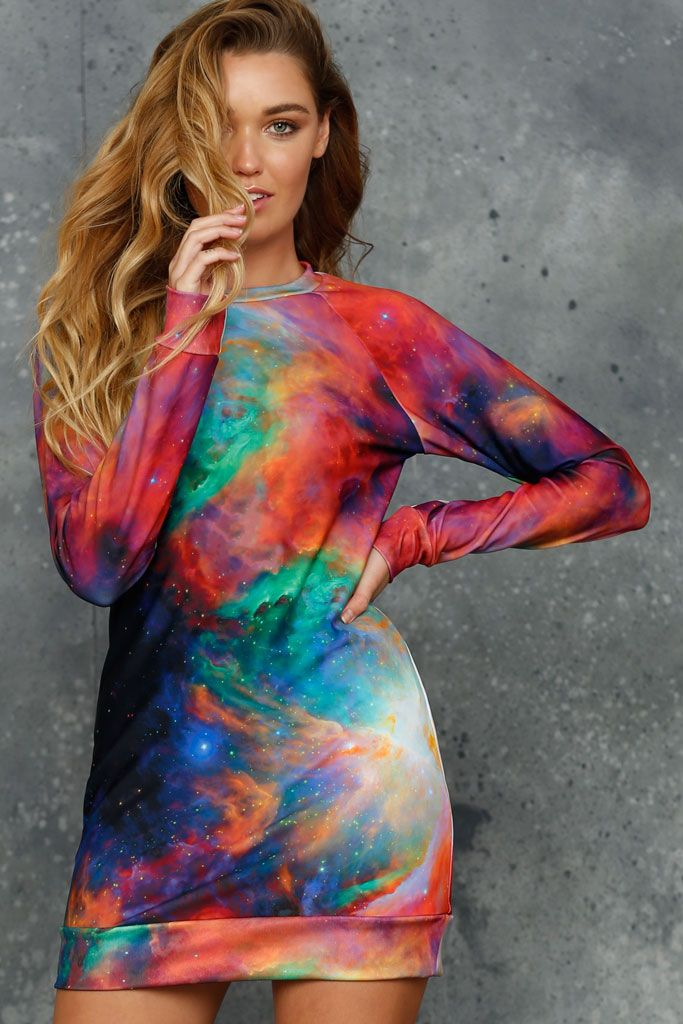 Galaxy Rainbow Sweater Dress (AU $120AUD) by BlackMilk Clothing