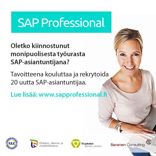 Koulutamme ja rekrytoimme 20 uutta SAP-asiantuntijaa! We're recruiting through our SAP Professional recruitment program 20 new SAP-professionals! Lue lisää ja hae mukaan!