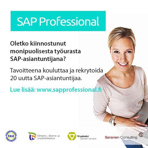 Koulutamme ja rekrytoimme 20 uutta SAP-asiantuntijaa! We're recruiting through our SAP Professional recruitment program 20 new SAP-professionals! Lue lisää ja hae mukaan!