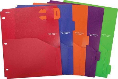 Five Star® Poly Pocket Dividers with Pull-out Reminder Tabs for $4.74 at Walmart.