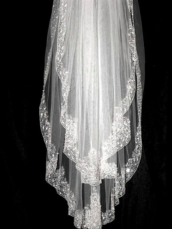 Bridal Veils with Crystals | ... ORDER - Gorgeous couture Swarovski crystal beaded bridal veil - SALE