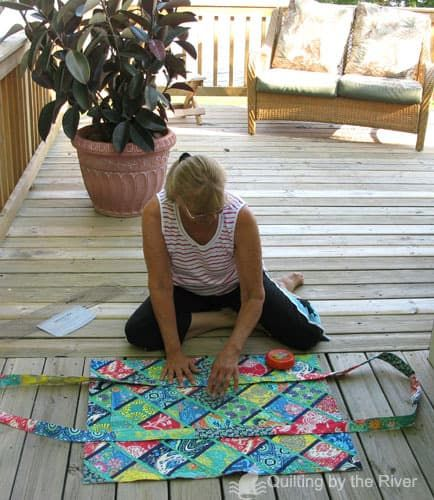 Me working on the deck creating fabric