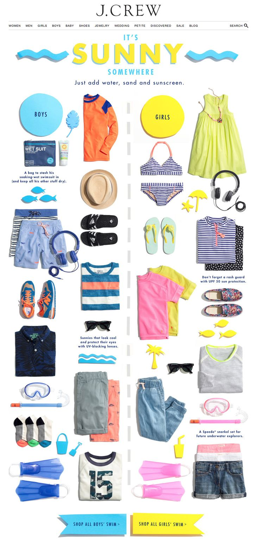 J crew, kids, newsletter, website design, fashion graphics
