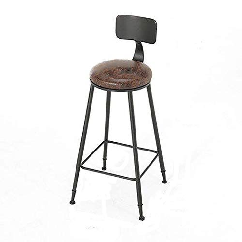 Barstools Chair Footrest With Backrest Round Artificial Leather